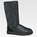 Black Classic Tall Patent Paisley Boots