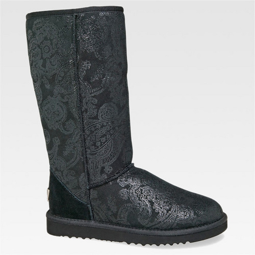 Black Classic Tall Patent motif cachemire, paisley Boots