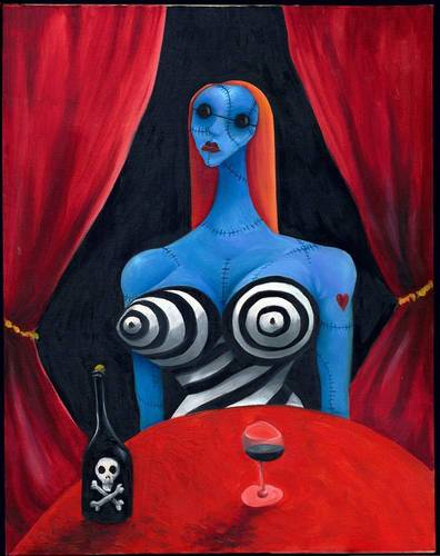 Tim burton Hintergrund titled Blue Girl with Wine