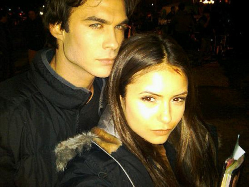 nina dobrev and ian somerhalder kissing. Ian Somerhalder and Nina