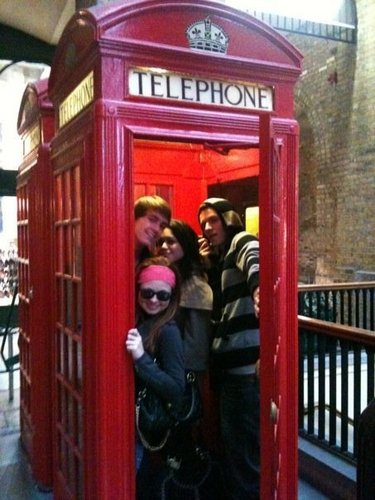 In a London telephone booth