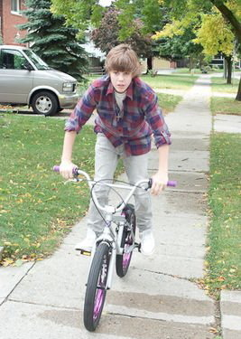 Justin on a bicycle 3!