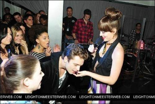 Leighton and Seb during Leighton's performance