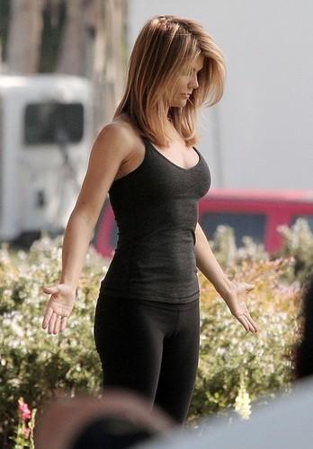 Lori Loughlin films a Yoga scene for 90210