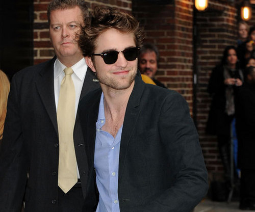 Rob arriving at the Letterman Zeigen