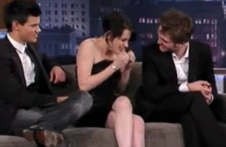 Robert Pattinson & Kristen Stewart wallpaper containing a business suit, a suit, and a dress suit called The Robsten Bubble moments from Jimmy  Kimmel :))))