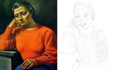 Drawing वॉलपेपर possibly with a portrait entitled The woman of the red sweater