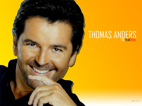 Modern Talking achtergrond with a portrait entitled Thomas Anders