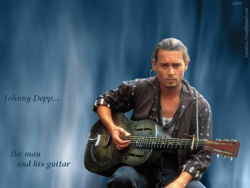 Johnny Depp wallpaper possibly with a concert and a guitarist titled the man and his guitar