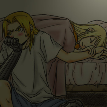 Winry and Ed Kiss http://www.fanpop.com/clubs/edward-elric-and-winry-rockbell/images/9240022/title/til-morning-nigh-fanart