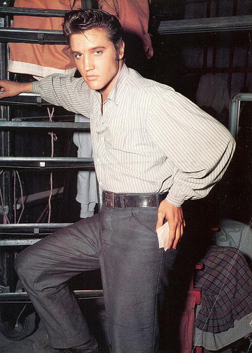 Elvis Presley on the set of LOVE ME TENDER