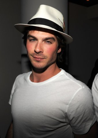 Damon Salvatore wolpeyper possibly with a fedora and a boater titled Hottie;)