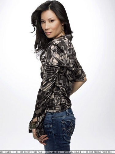 Lucy Liu wallpaper probably containing an outerwear, long trousers, and bellbottom trousers called Lucy