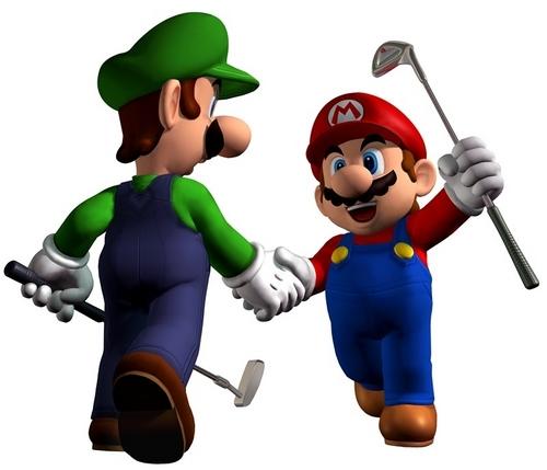 Mario and Luigi golfing
