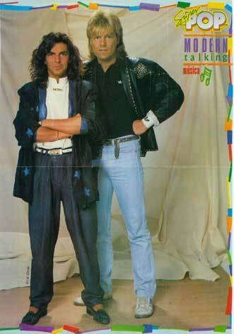 Modern Talking achtergrond with long trousers, a well dressed person, and a pantleg entitled Modern Talking - Dieter & Thomas