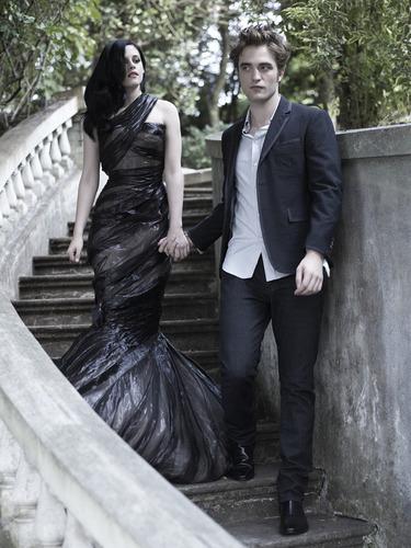 Robert Pattinson & Kristen Stewart 壁纸 probably containing a business suit called Rob Pattinson and Kristen Stewart Harper's Bazaar
