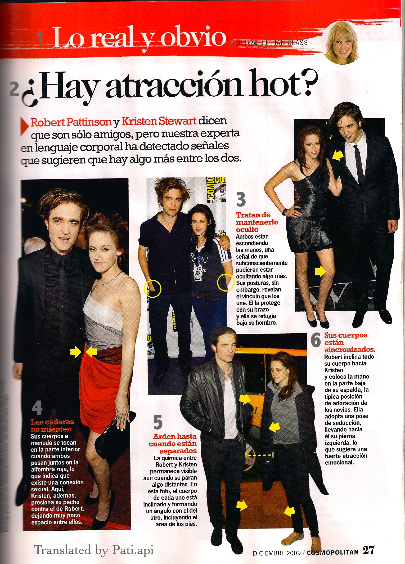 Rob and Kristen in an 記事 in Cosmo magazine Chile