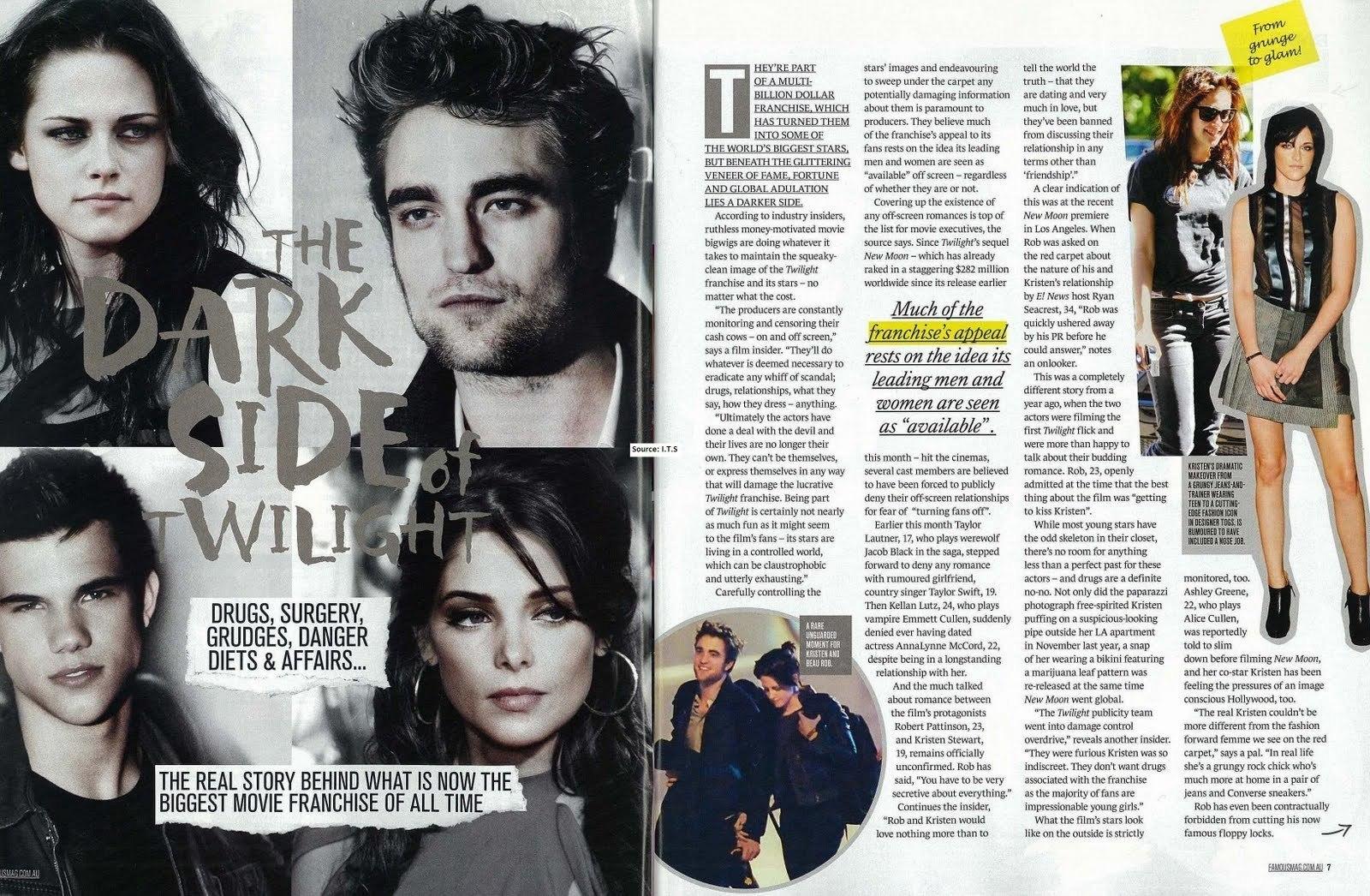 """Robert Pattinson & New Moon in Australia's """"Famous"""" Magazine"""