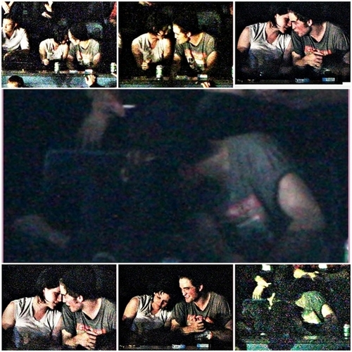 Robert Pattinson and Kristen Stewart at a show, concerto maybe almost beijar