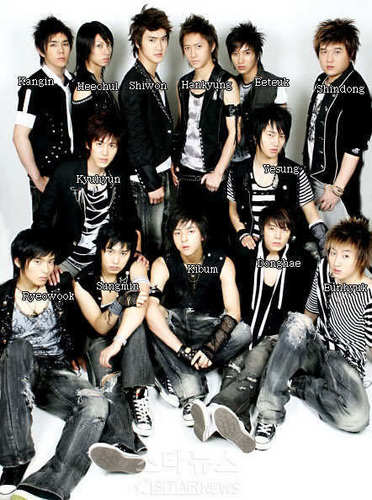 Super Junior پیپر وال possibly with فوجی کپڑے, ریگامانٹلس, long trousers, and a bearskin entitled SuJu Members