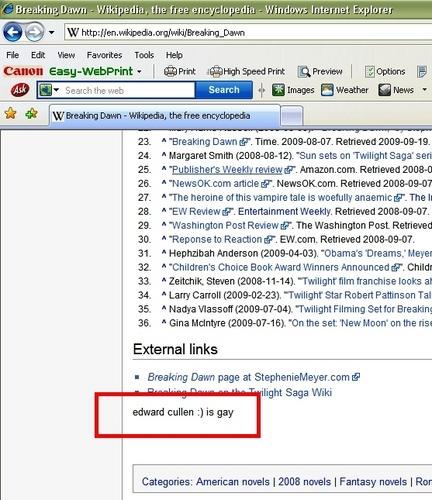 Wikipedia says: edward cullen :) is gay