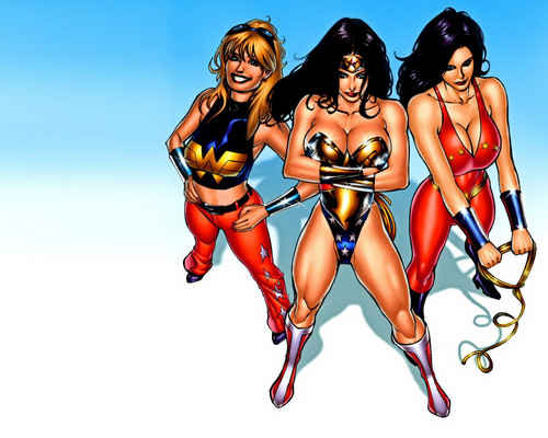 DC Comics wallpaper possibly containing a swimsuit and a bikini titled Wonder Woman & Wonder Girls