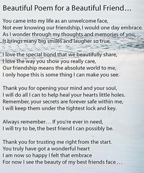 Beautiful poem for a beautiful friend