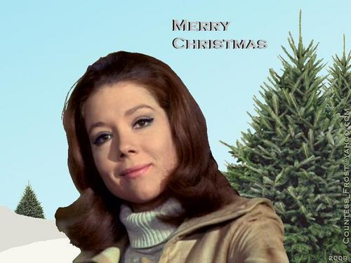 Diana Rigg kertas dinding with a portrait entitled Emma Krismas 2008