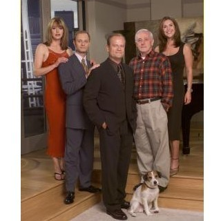Frasier fondo de pantalla probably with a business suit and a calle titled Frasier cast