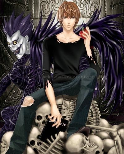 死亡笔记 壁纸 possibly with a 服装 and a sign entitled Light Yagami