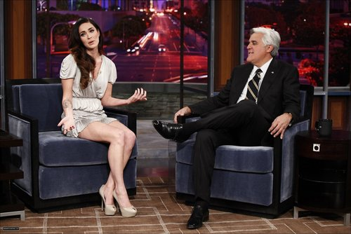 Megan Fox wallpaper containing a well dressed person and a hip boot entitled Megan on The Jay Leno Show