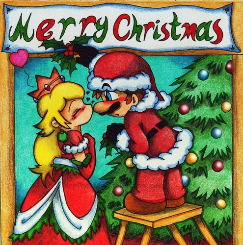 Mario and Peach wallpaper possibly containing anime called Merry Christmas