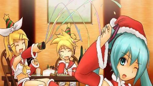 Miku Len and Rin Christmas!
