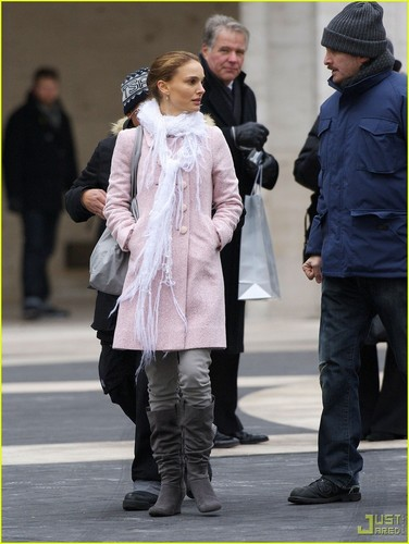 Natalie on the set of 'Black Swan'