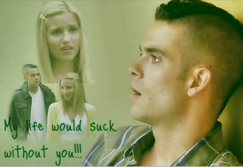 glee wallpaper with a portrait entitled Puck/Quinn 1x13