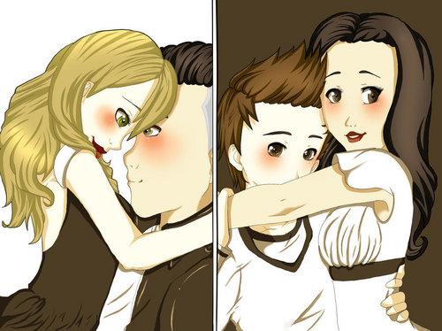 Quinn&Puck / Finn&Rachel fanart