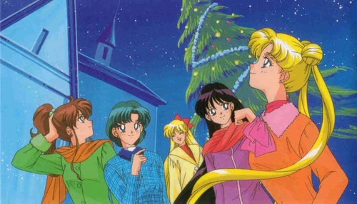 Sailor Moon Sailor Stars karatasi la kupamba ukuta with anime called Sailor Moon Sailor Stars Xmas