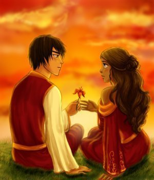 Zutara: Of Fire and Water wallpaper probably with a bridesmaid, a dinner dress, and a bouquet called Zuko and Katara <3