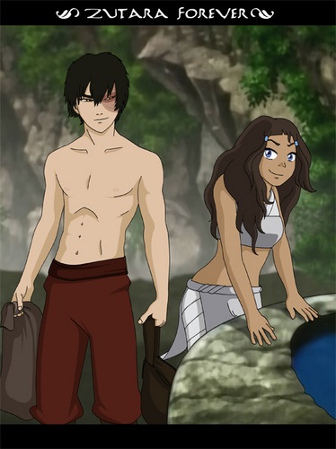 Zutara: Of Fire and Water wallpaper possibly with anime and a portrait entitled Zuko and Katara <3