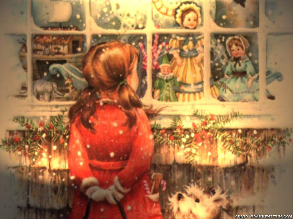 christmas images window shopping hd wallpaper and background photos - Vintage Christmas Wallpaper