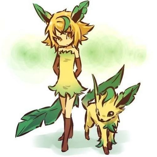 leafeon and trainer - pokemon Fan Art