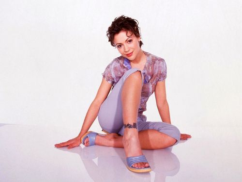 Alyssa Milano kertas dinding possibly with tights, a leotard, and skin titled Alyssa Milano