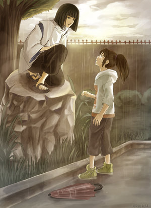 Spirited Away پیپر وال probably with a sign titled Chihiro and Haku