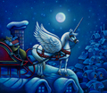 Unicorn Pulling Santa's Sleigh - unicorns photo