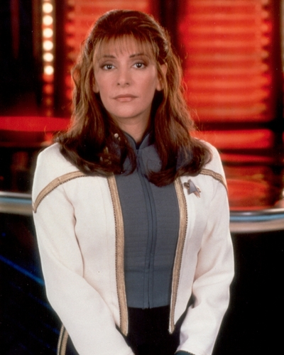 Counselor Deanna Troi wallpaper possibly containing an overclothes, a box coat, and a brasserie in The Star Trek-The Next Generation Club