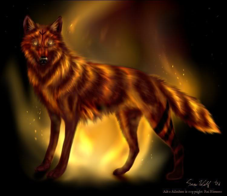Anime Fire Wolf Pup