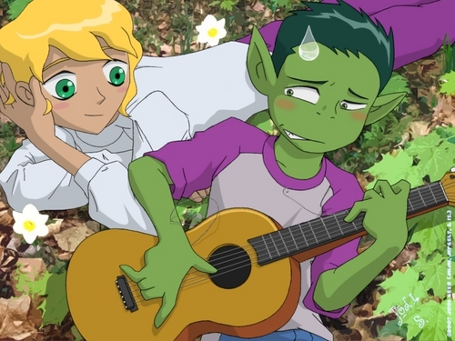 teen titans wallpaper possibly with anime called gitar lessons