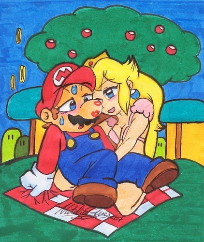 Mario and Peach wallpaper with anime called Helping Hand