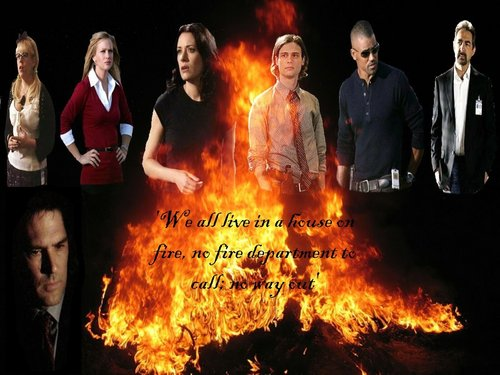 SSA Aaron Hotchner wallpaper containing a fire and a fire titled House on Fire