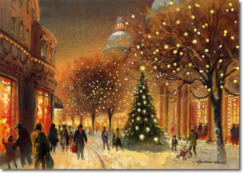 Christmas wallpaper containing a street and a brownstone entitled  Christmas In Art
